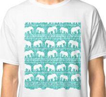 Elephant tribal turquoise water color Classic T-Shirt