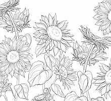 Hand drawn sunflowers by Oksana Bashchak