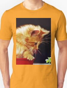 Cat On Red Tin Unisex T-Shirt