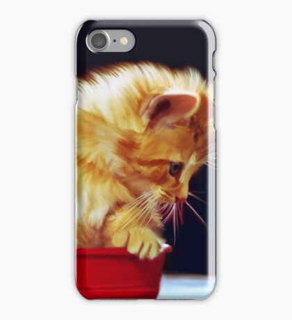 Cat On Red Tin iPhone Case/Skin