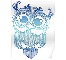 Owl mandala - blue gradient  Poster