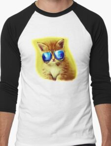 Cute Kitty with Sunglasses Men's Baseball ¾ T-Shirt