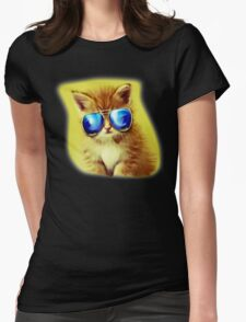 Cute Kitty with Sunglasses Womens Fitted T-Shirt