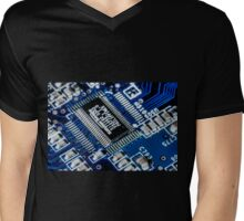 HDR - Blue Board Chips and Glowing Traces Mens V-Neck T-Shirt