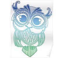 Owl mandala - blue green gradient  Poster