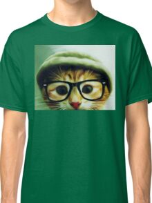 Vintage Cat Wearing Glasses Classic T-Shirt