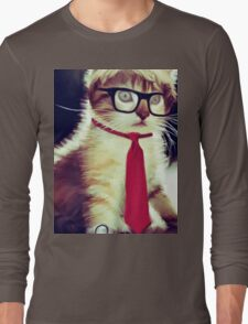 Cute Executive Cat Long Sleeve T-Shirt