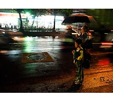 Nighttime Taxi Call Photographic Print