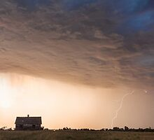 Lightning Striking On The Colorado Prairie Plains by Bo Insogna