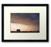 Lightning Striking On The Colorado Prairie Plains Framed Print