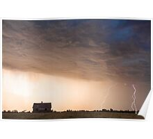 Lightning Striking On The Colorado Prairie Plains Poster
