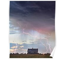 Pink Lightning On the Prairie Portrait Poster