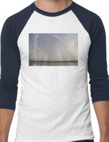 Positive Pink Lightning Strikes Men's Baseball ¾ T-Shirt