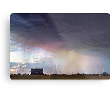 Positive Pink Lightning On the Prairie  Metal Print