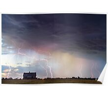 Positive Pink Lightning On the Prairie  Poster