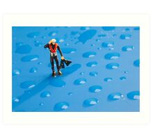 The Diver Among Water Drops Art Print
