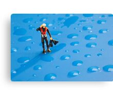 The Diver Among Water Drops Canvas Print