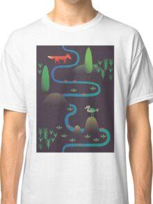 Landscape - Fox and Stream 2 (Pattern) Classic T-Shirt