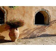 Flower pot in Greek monastery Photographic Print