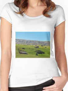 Houses in green valley in the mountains (Italy) Women's Fitted Scoop T-Shirt