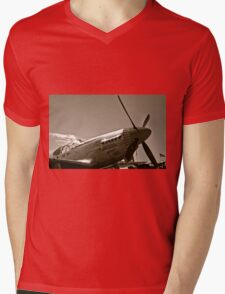Tuskegee Airmen P51 Mustang Fighter Plane Mens V-Neck T-Shirt