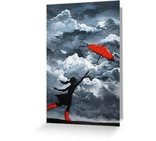 Red Umbrella Greeting Card