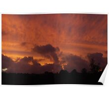 Deep red sunset over Holmfirth Poster