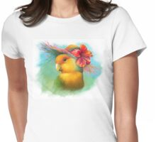 Orange-faced lovebird with hibiscus hat painting Womens Fitted T-Shirt