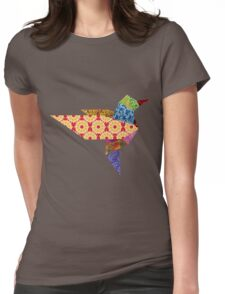 Origami Humming Bird - Pattern1 Womens Fitted T-Shirt