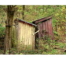 """Double """"Out Houses"""" in Hillbilly Lands, N.W. Arkansas Photographic Print"""