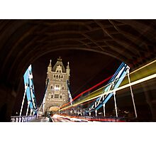 Tower Bridge at night with Light trail Photographic Print