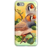 Zebra finches realistic painting iPhone Case/Skin