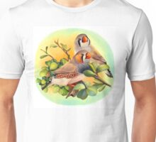Zebra finches realistic painting Unisex T-Shirt