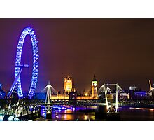London Eye and The Westminister by the SouthBank Photographic Print