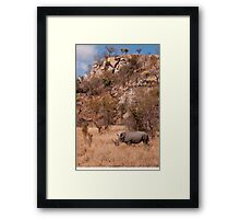 White Rhinoceros below a koppie, Kruger National Park Framed Print