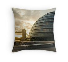 London Mayor House and the Tower Bridge Throw Pillow