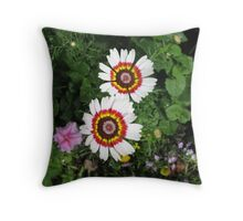 Random brightly coloured flowers. Dinan, France Throw Pillow