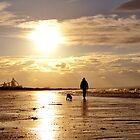 Redcar Evening - Dog Walker on Beach by 1994casa