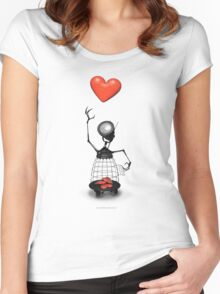 Heart Cage Robot  Women's Fitted Scoop T-Shirt