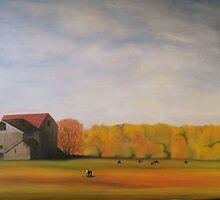 "Barns & Cattle in Autumn 36x24"" - Oil by Luci Feldman"