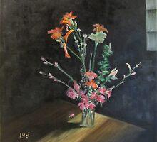 "Cottage Flowers 12x12"" SOLD - Oil -  by Luci Feldman"