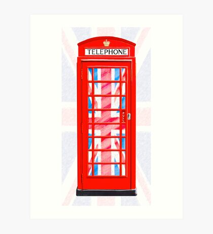Thoroughly British Style - Red Phone Box & Union Jack Art Print
