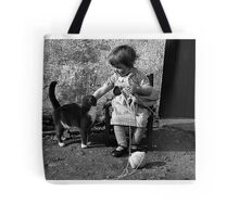 Little girl knitting Tote Bag