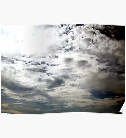 Clouds amidst the Sun rays Poster