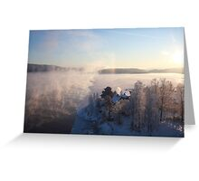 Vapors rising from a freezing river, Höga Kusten / High Coast, Sweden 1 Greeting Card
