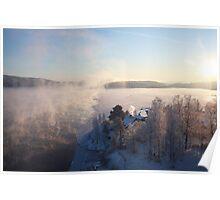 Vapors rising from a freezing river, Höga Kusten / High Coast, Sweden 1 Poster