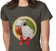 Green quaker parrot realistic painting Womens Fitted T-Shirt