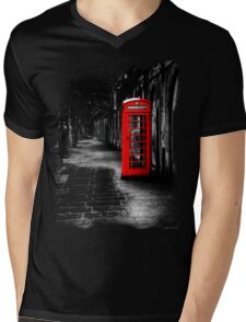 London Calling - Red British Telephone Box Mens V-Neck T-Shirt