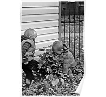 Fin and Tom playing in the Leaves Poster