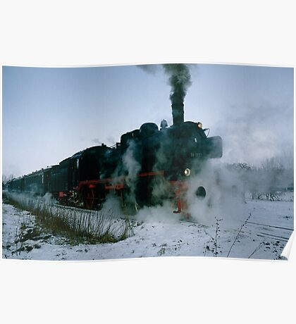 Steam locomotive in winter, Germany,1985 Poster